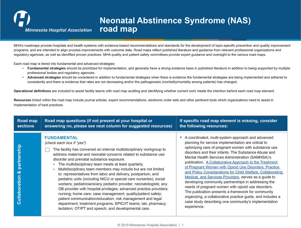 neonatal abstinence syndrome road map